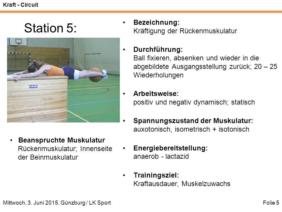 Station 5: Bezeichnung: Kräftigung der Rückenmuskulatur