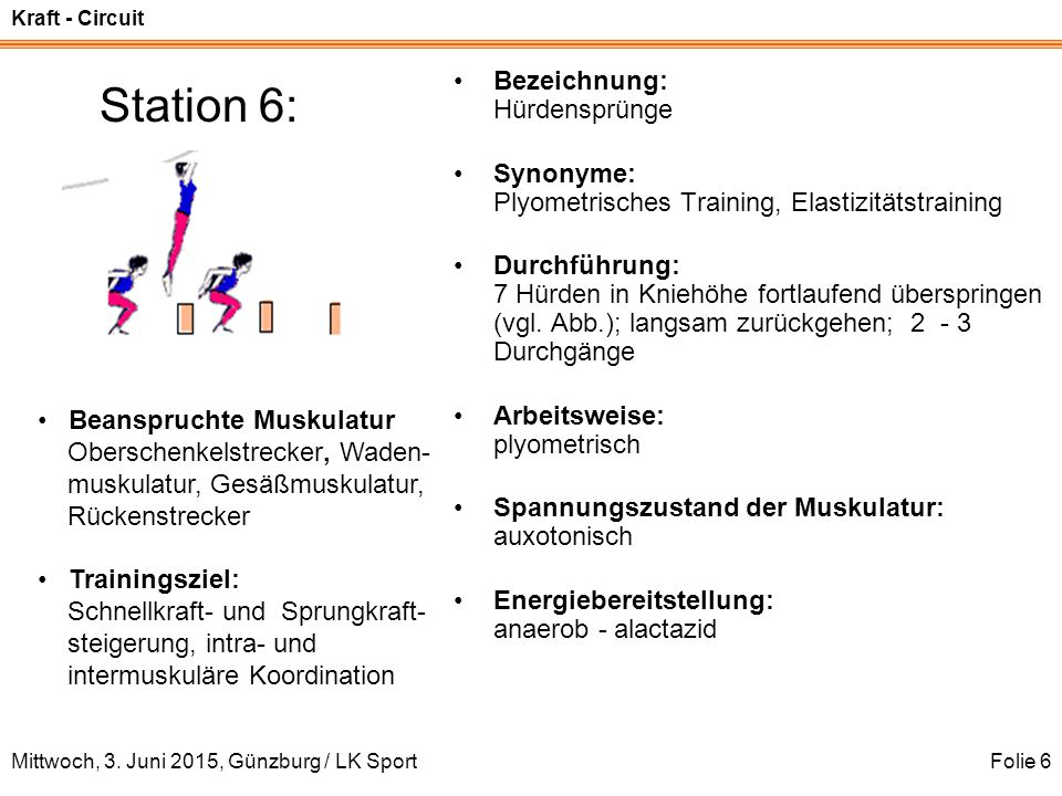 Station 6: Bezeichnung: Hürdensprünge