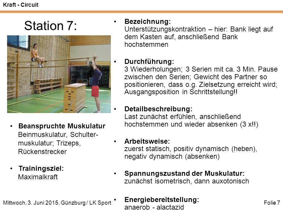 Station 7: Bezeichnung: Unterstützungskontraktion – hier: Bank liegt auf dem Kasten auf, anschließend Bank hochstemmen.