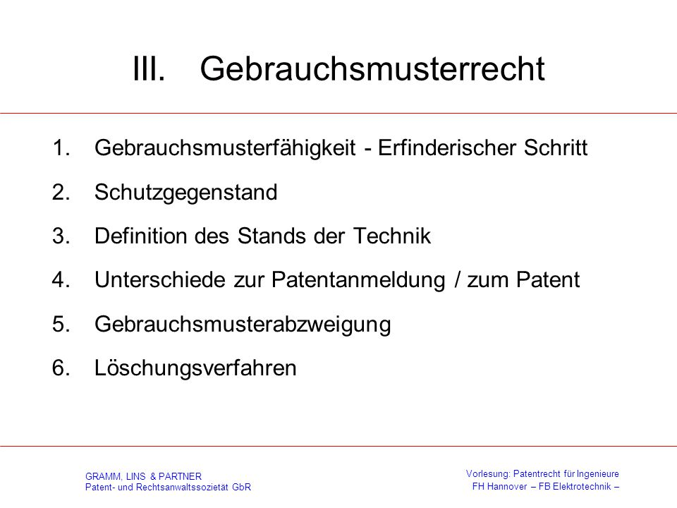 III. Gebrauchsmusterrecht