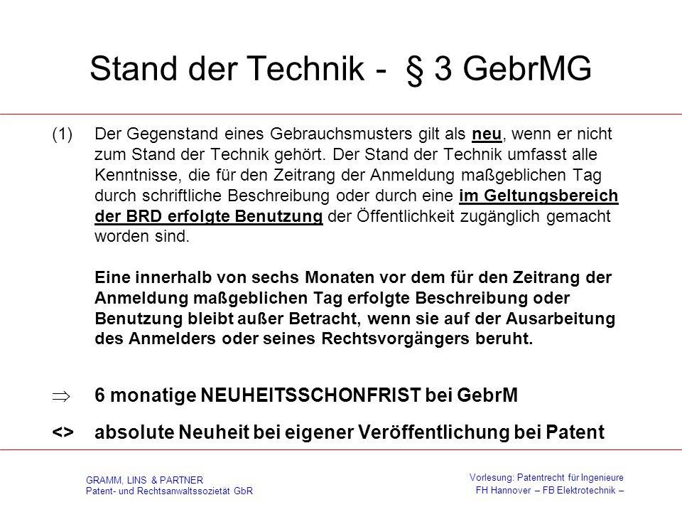 Stand der Technik - § 3 GebrMG