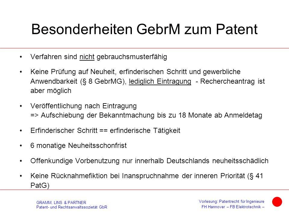 Besonderheiten GebrM zum Patent