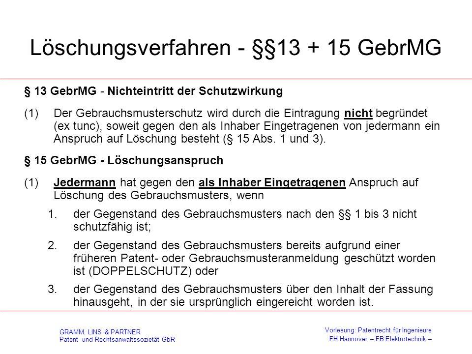 Löschungsverfahren - §§13 + 15 GebrMG