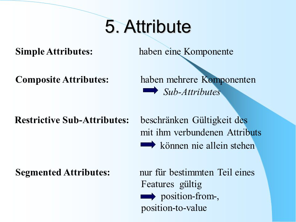 5. Attribute Simple Attributes: haben eine Komponente