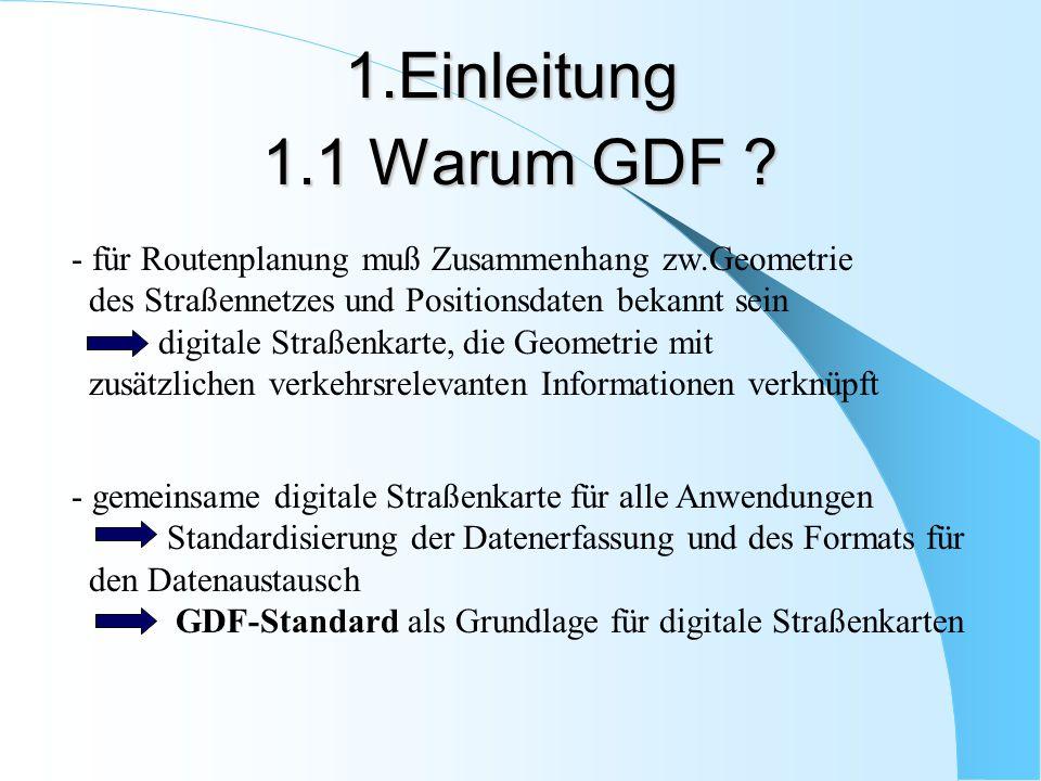 1.Einleitung 1.1 Warum GDF für Routenplanung muß Zusammenhang zw.Geometrie. des Straßennetzes und Positionsdaten bekannt sein.