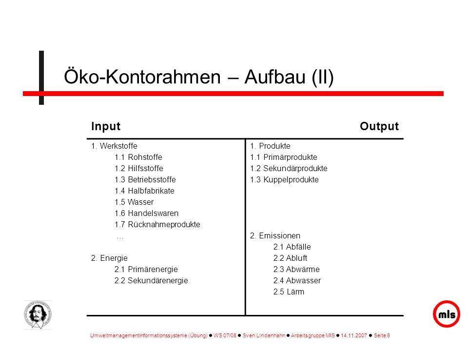 Öko-Kontorahmen – Aufbau (II)