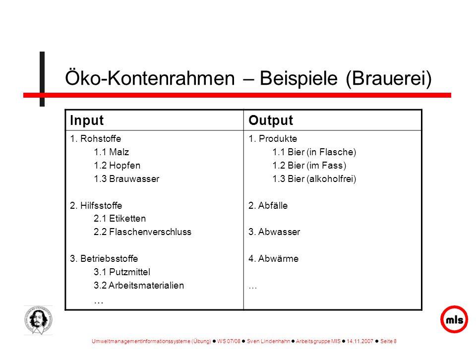 Öko-Kontenrahmen – Beispiele (Brauerei)