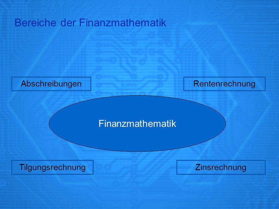 Bereiche der Finanzmathematik