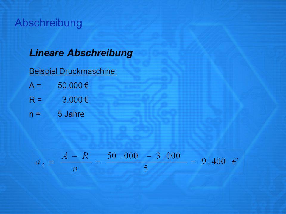 Abschreibung Lineare Abschreibung Beispiel Druckmaschine: A = 50.000 €
