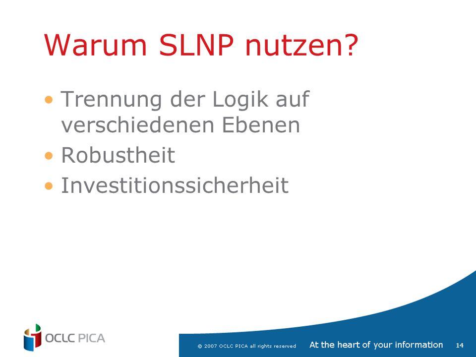 Warum SLNP nutzen Trennung der Logik auf verschiedenen Ebenen