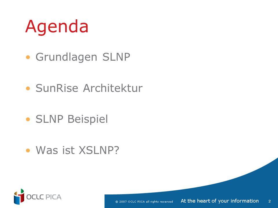 Agenda Grundlagen SLNP SunRise Architektur SLNP Beispiel