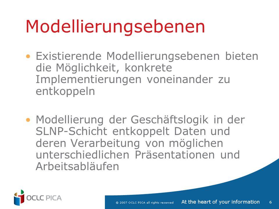 Modellierungsebenen Existierende Modellierungsebenen bieten die Möglichkeit, konkrete Implementierungen voneinander zu entkoppeln.