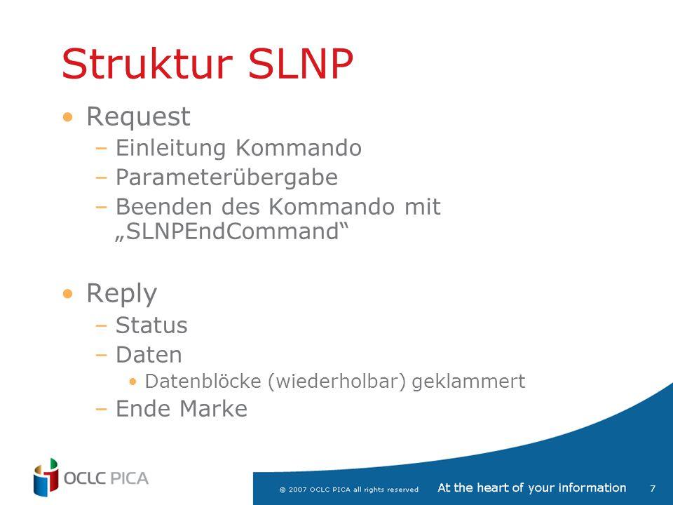 Struktur SLNP Request Reply Einleitung Kommando Parameterübergabe