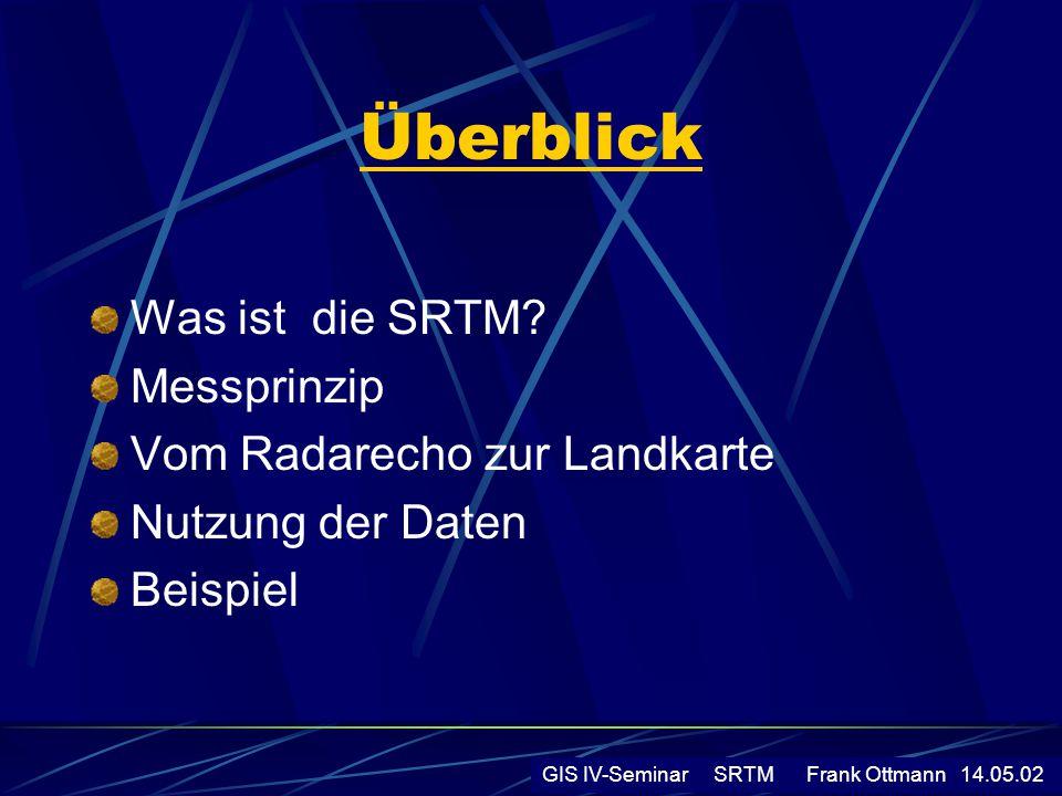 Überblick Was ist die SRTM Messprinzip Vom Radarecho zur Landkarte