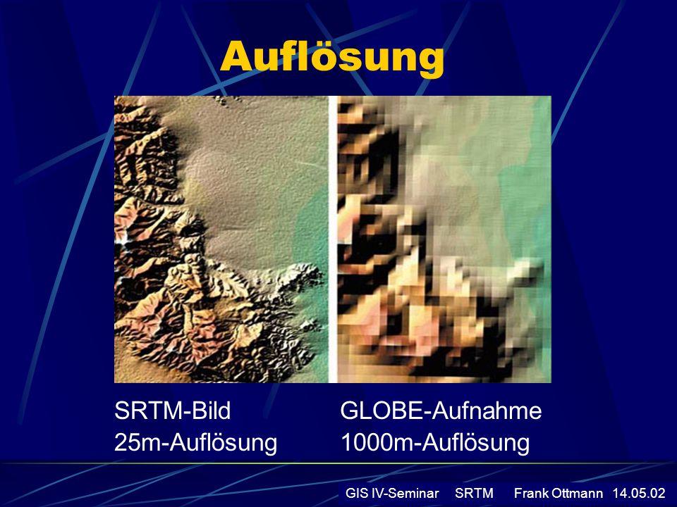 Auflösung SRTM-Bild 25m-Auflösung GLOBE-Aufnahme 1000m-Auflösung