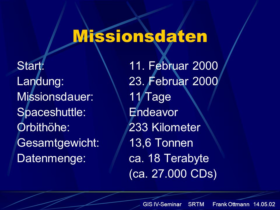 Missionsdaten Start: 11. Februar 2000 Landung: 23. Februar 2000