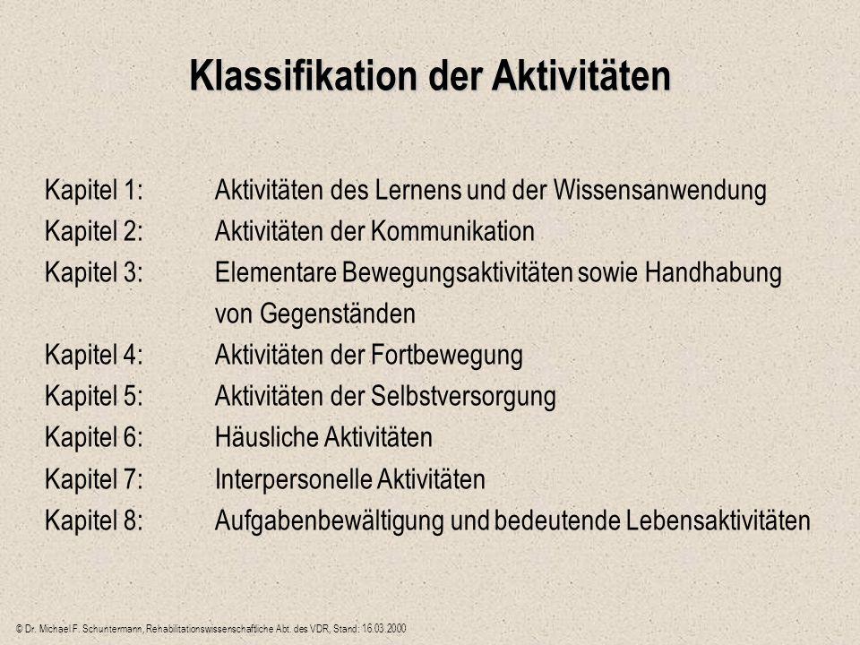 Klassifikation der Aktivitäten