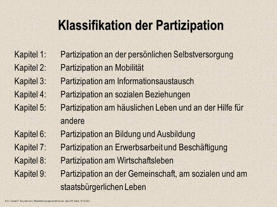 Klassifikation der Partizipation