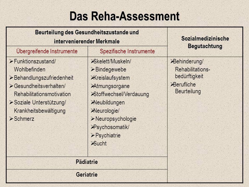 Das Reha-Assessment Beurteilung des Gesundheitszustande und