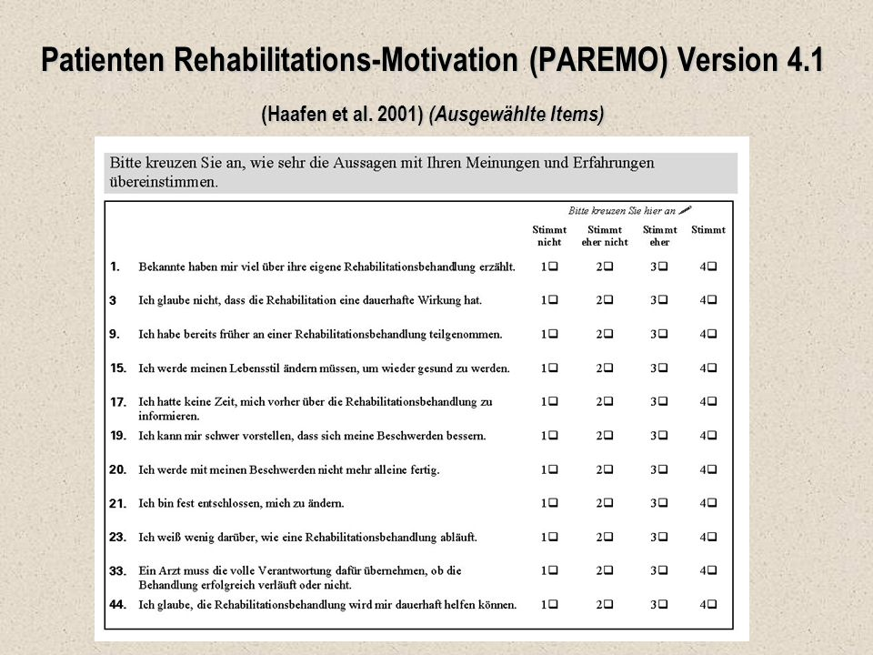 Patienten Rehabilitations-Motivation (PAREMO) Version 4
