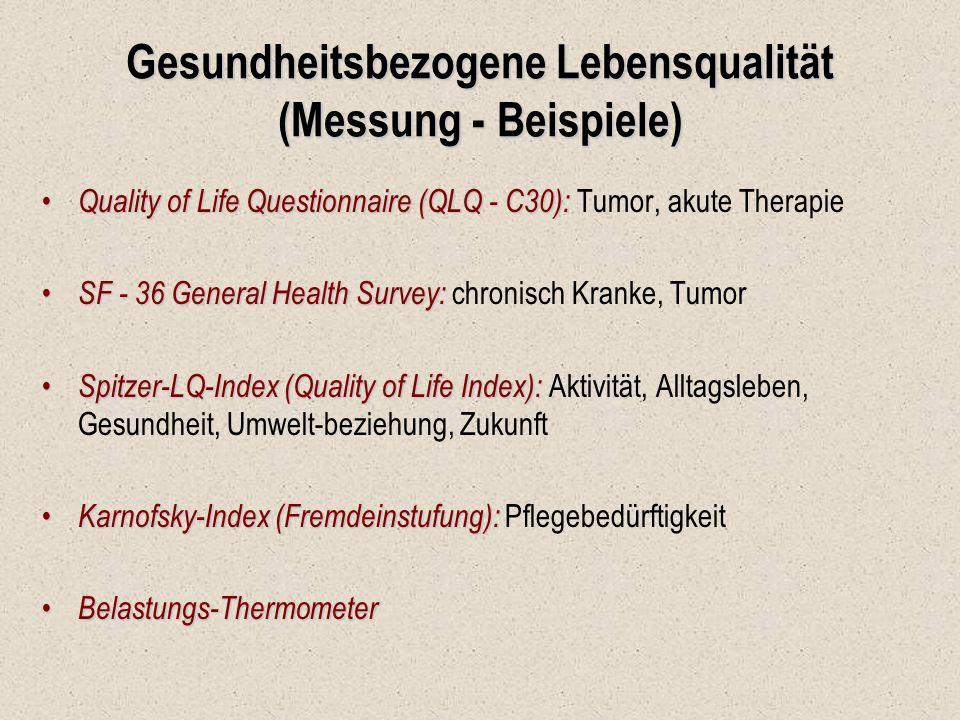Gesundheitsbezogene Lebensqualität (Messung - Beispiele)