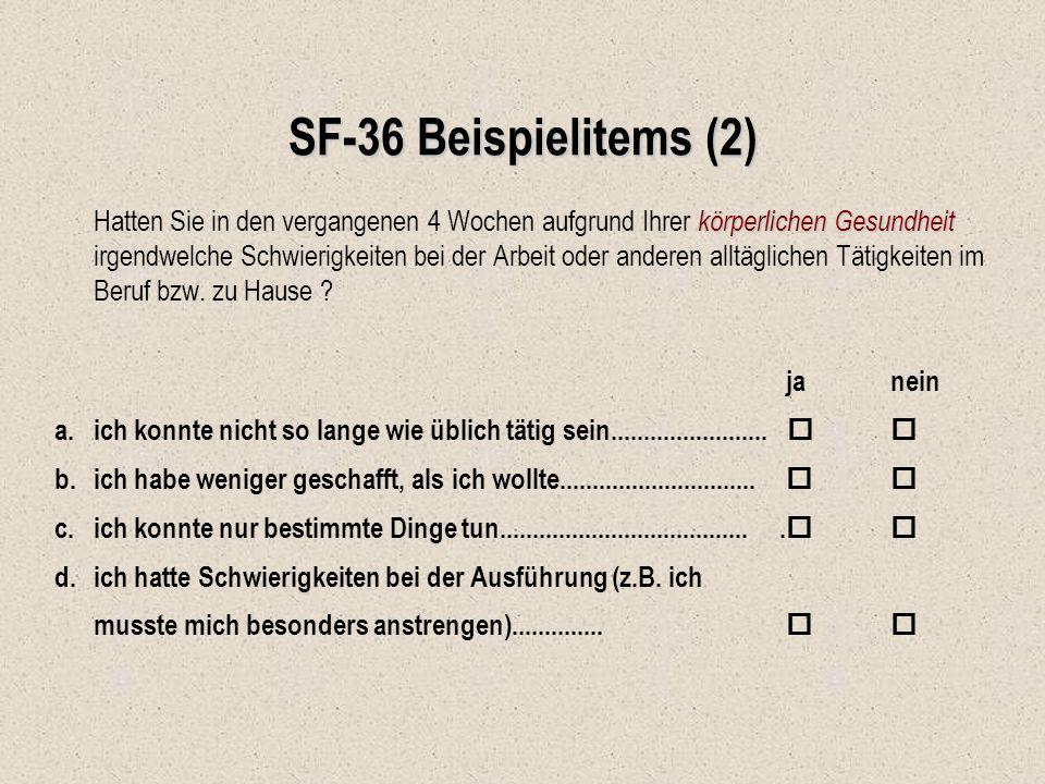 SF-36 Beispielitems (2)