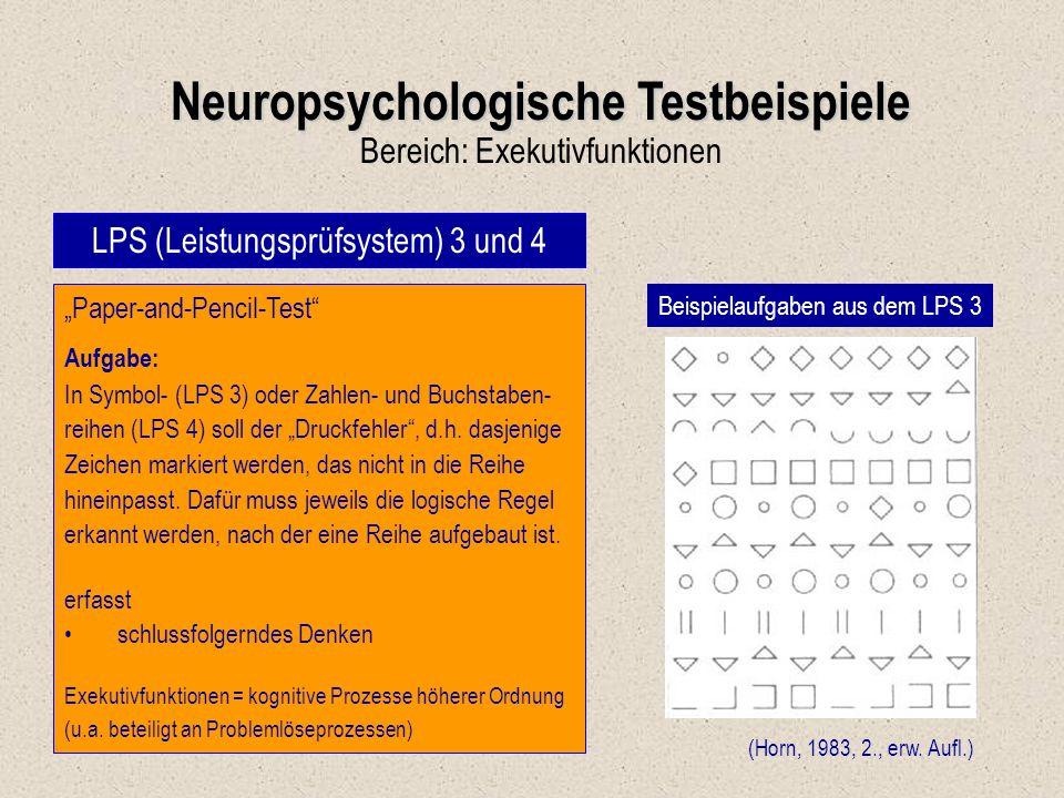 Neuropsychologische Testbeispiele
