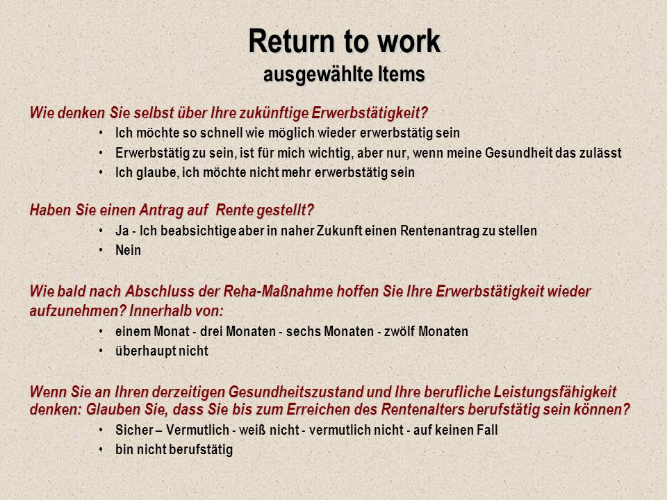 Return to work ausgewählte Items