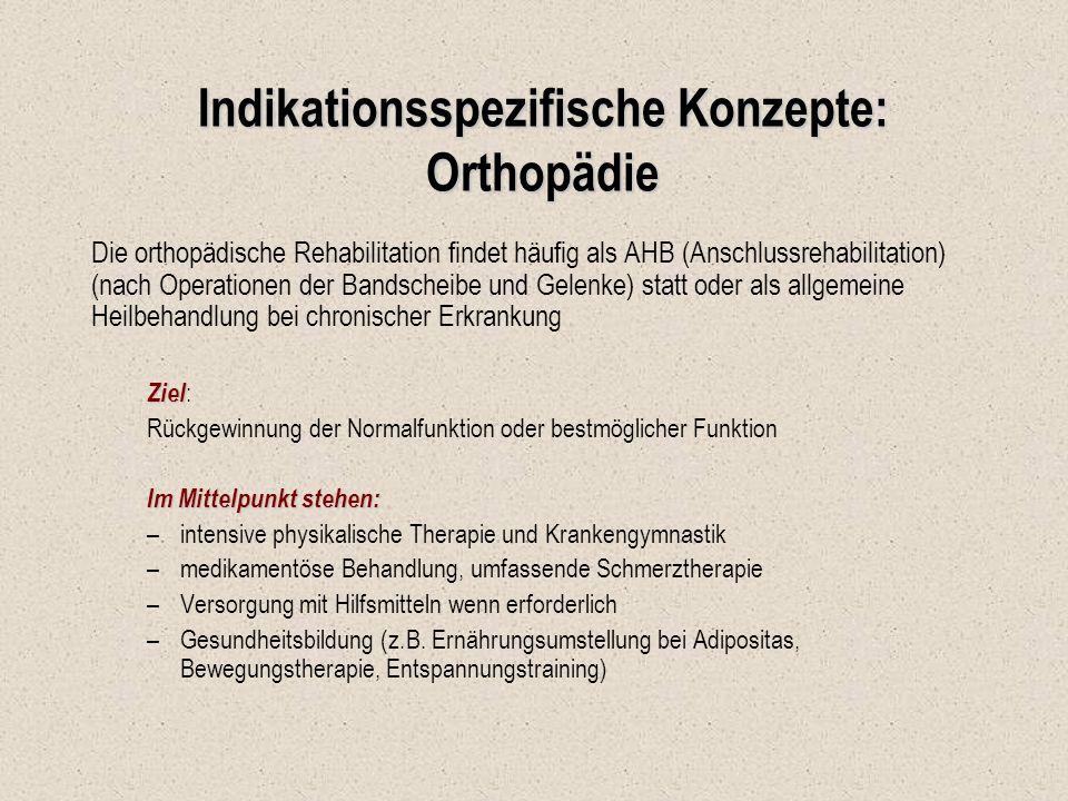 Indikationsspezifische Konzepte: Orthopädie