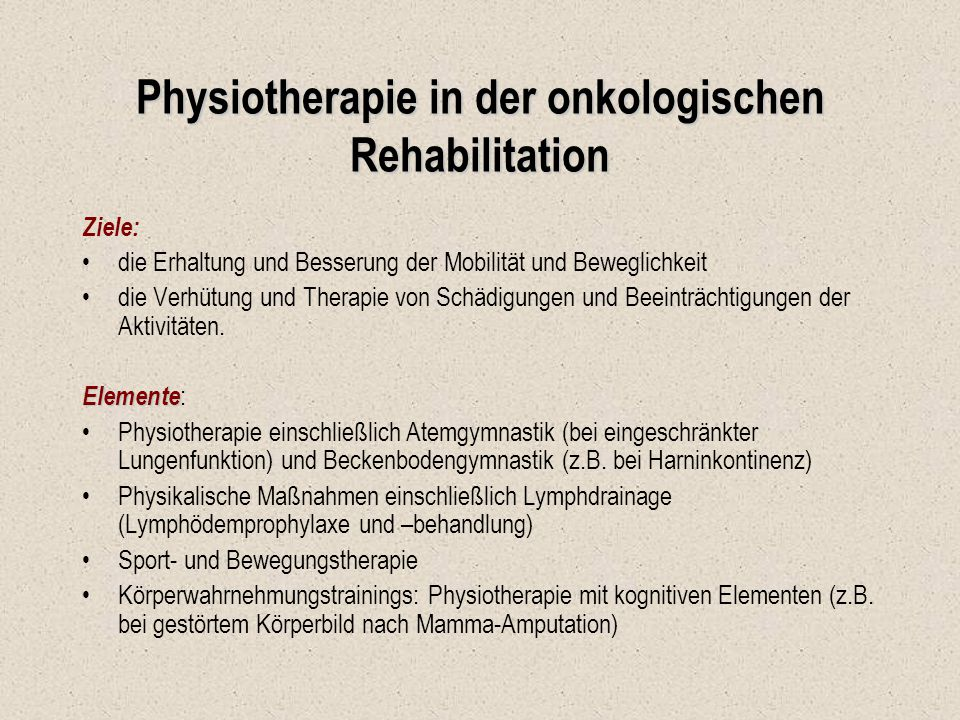 Physiotherapie in der onkologischen Rehabilitation