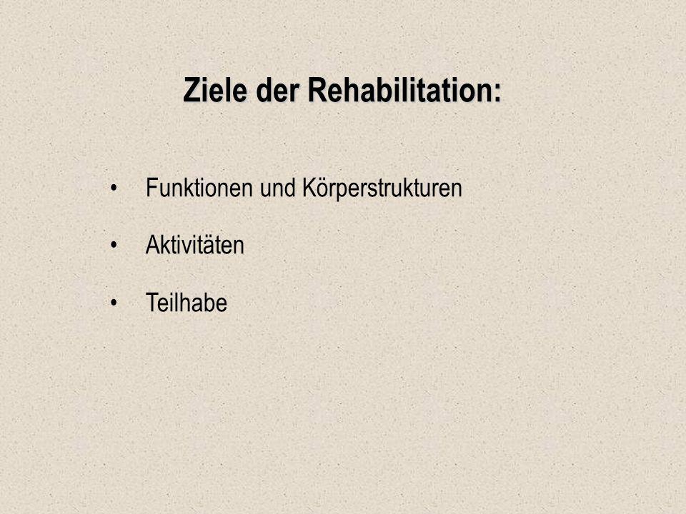 Ziele der Rehabilitation: