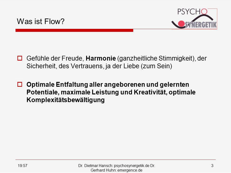 Dr. Dietmar Hansch: psychosynergetik.de Dr. Gerhard Huhn: emergence.de