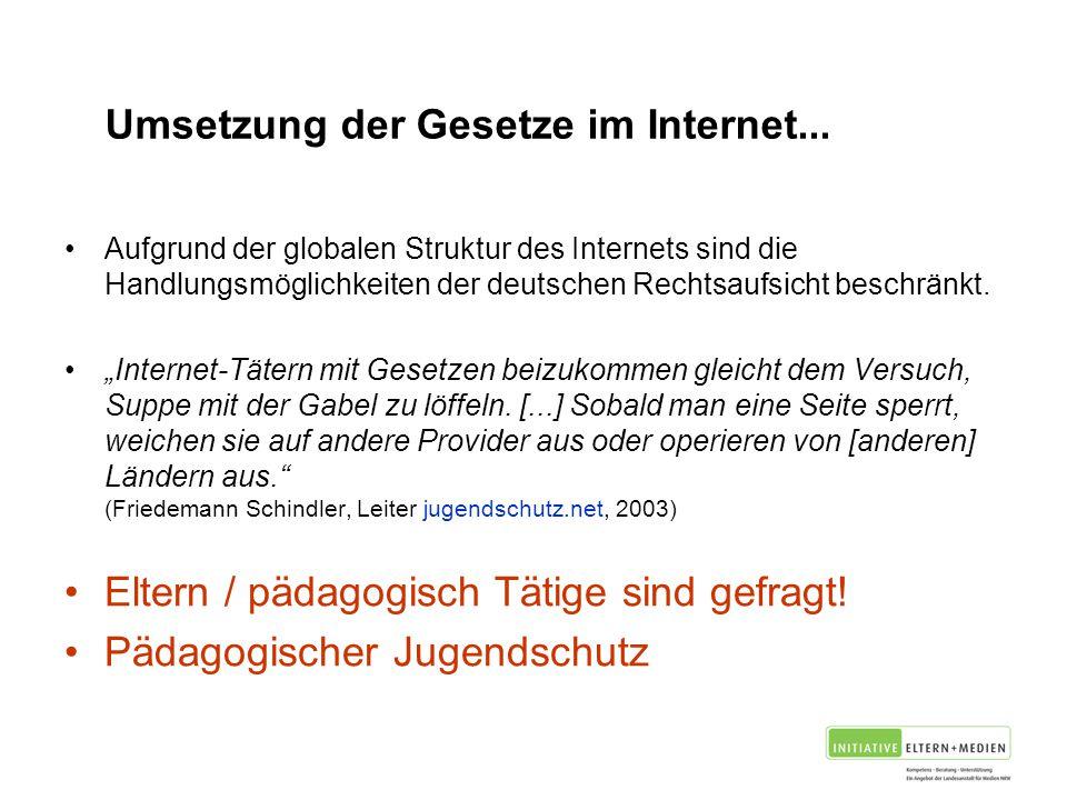 Problem Umsetzung der Gesetze im Internet...