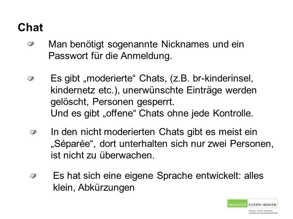 Chat Man benötigt sogenannte Nicknames und ein Passwort für die Anmeldung.