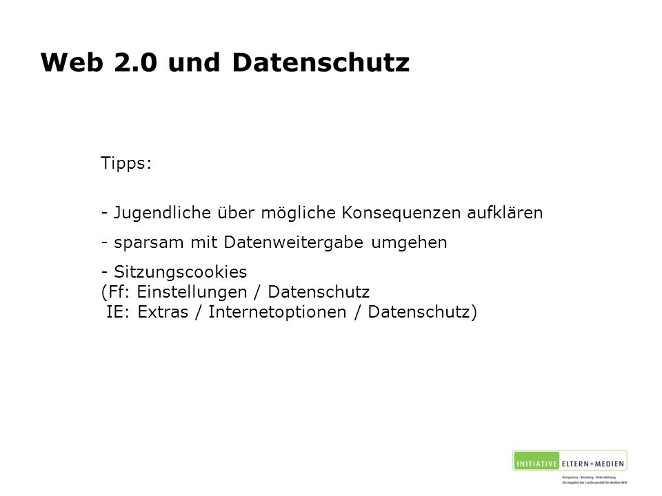 Web 2.0 und Datenschutz Tipps: