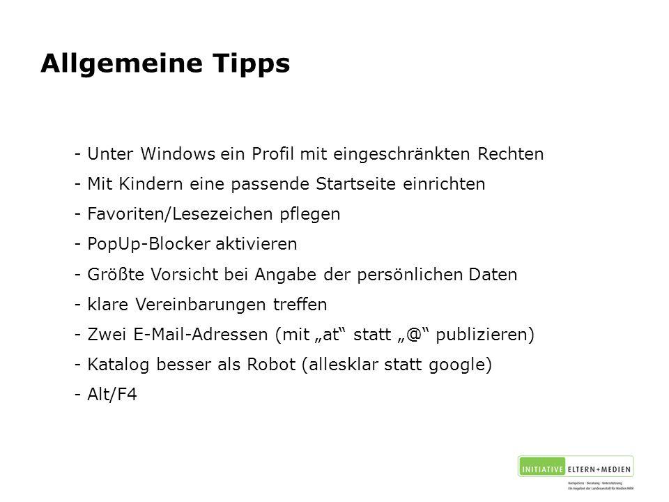 Allgemeine Tipps Unter Windows ein Profil mit eingeschränkten Rechten