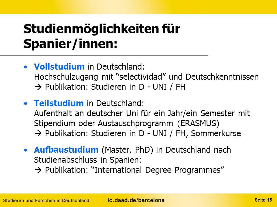 Studienmöglichkeiten für Spanier/innen: