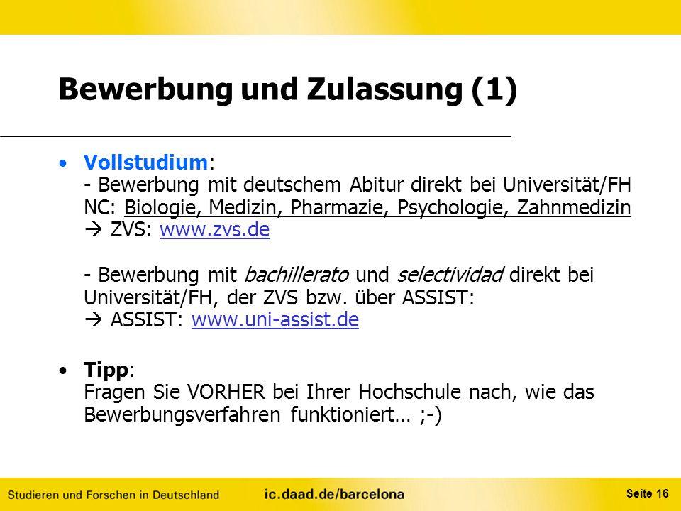 Bewerbung und Zulassung (1)