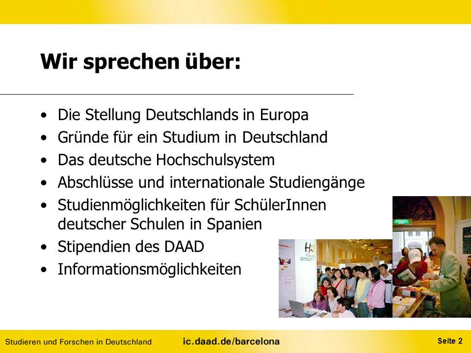 Wir sprechen über: Die Stellung Deutschlands in Europa