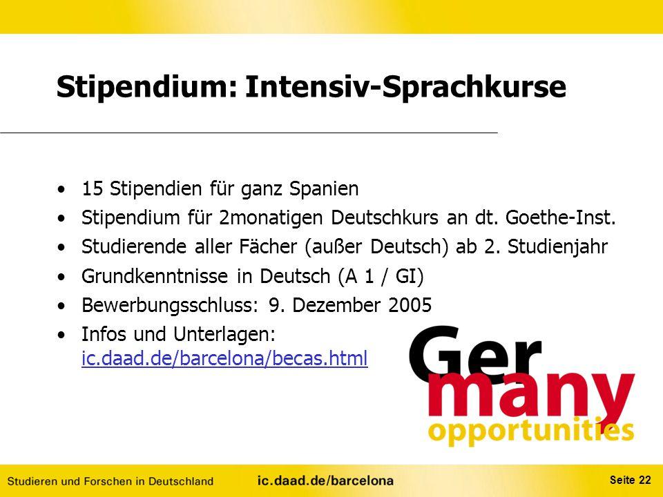 Stipendium: Intensiv-Sprachkurse