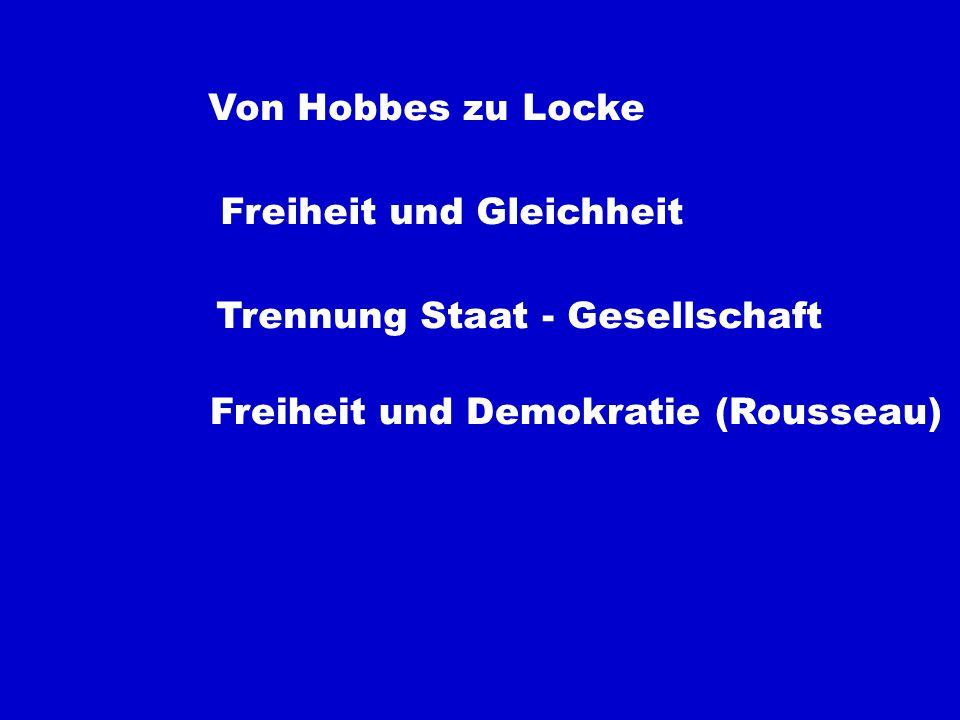 Von Hobbes zu Locke Freiheit und Gleichheit. Trennung Staat - Gesellschaft.