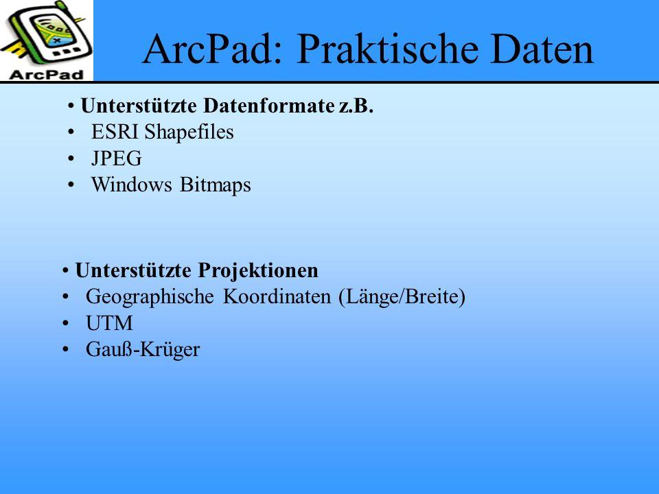 ArcPad: Praktische Daten
