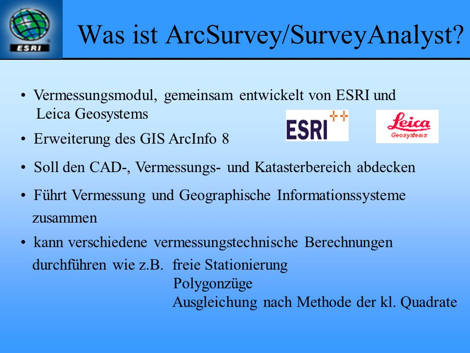 Was ist ArcSurvey/SurveyAnalyst