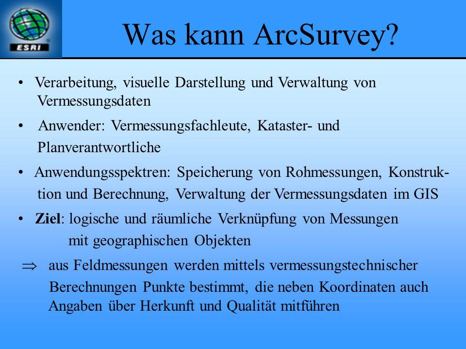 Was kann ArcSurvey Verarbeitung, visuelle Darstellung und Verwaltung von. Vermessungsdaten. Anwender: Vermessungsfachleute, Kataster- und.
