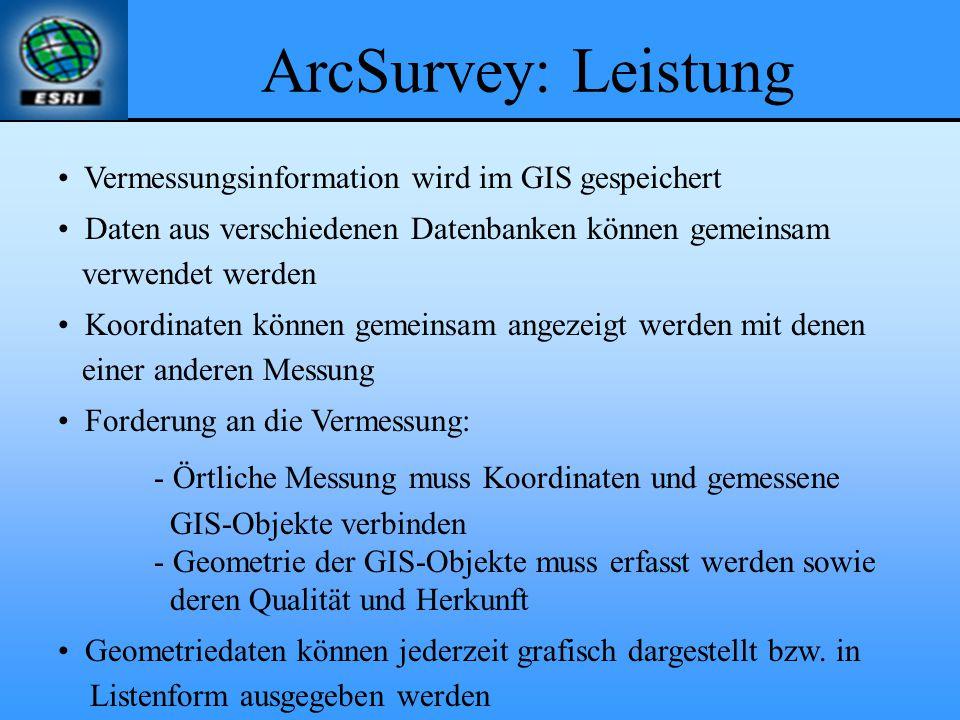 ArcSurvey: Leistung Vermessungsinformation wird im GIS gespeichert