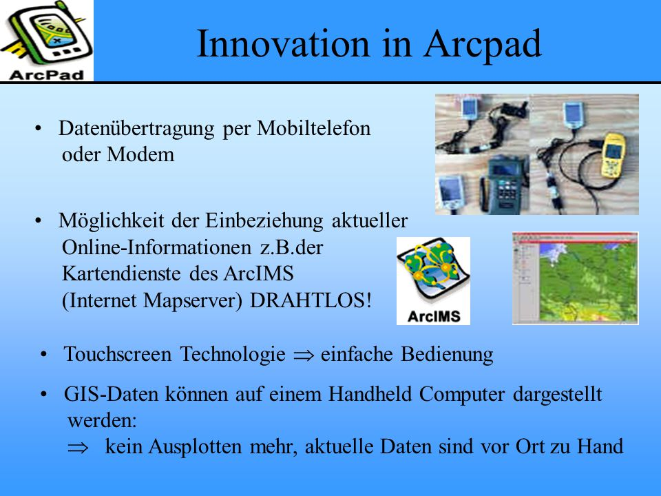 Innovation in Arcpad Datenübertragung per Mobiltelefon oder Modem