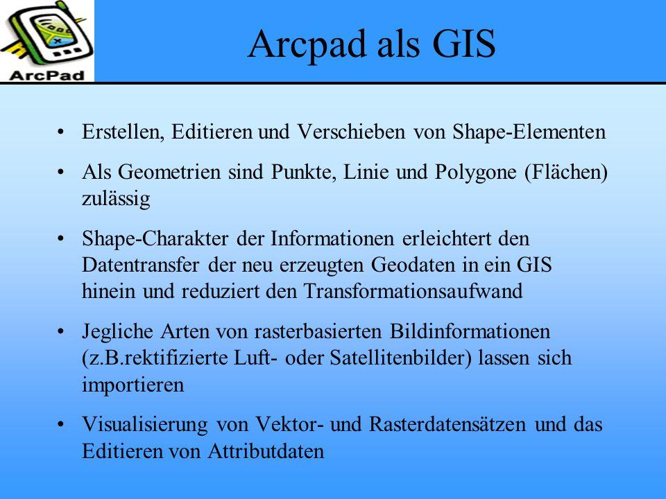 Arcpad als GIS Erstellen, Editieren und Verschieben von Shape-Elementen. Als Geometrien sind Punkte, Linie und Polygone (Flächen) zulässig.
