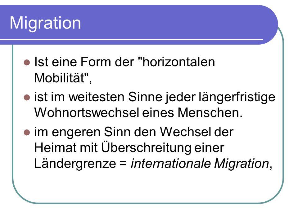 Migration Ist eine Form der horizontalen Mobilität ,