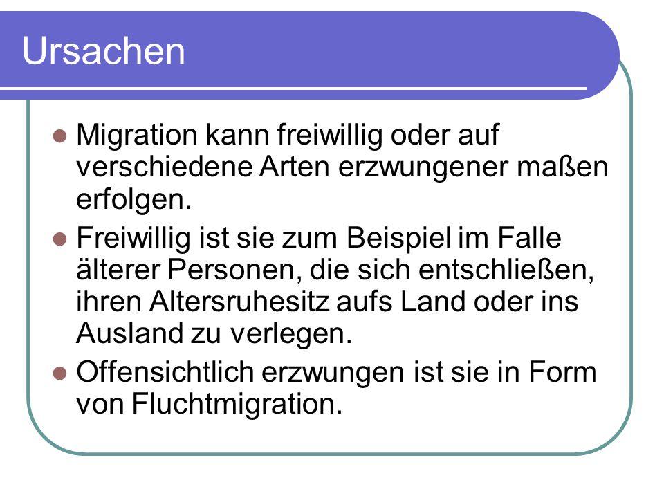 Ursachen Migration kann freiwillig oder auf verschiedene Arten erzwungener maßen erfolgen.