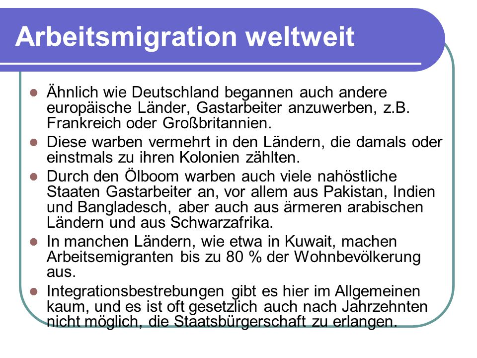 Arbeitsmigration weltweit